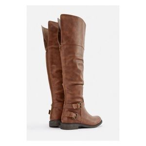 Marit Faux Leather Over-The-Knee Boot Cognac/Brown